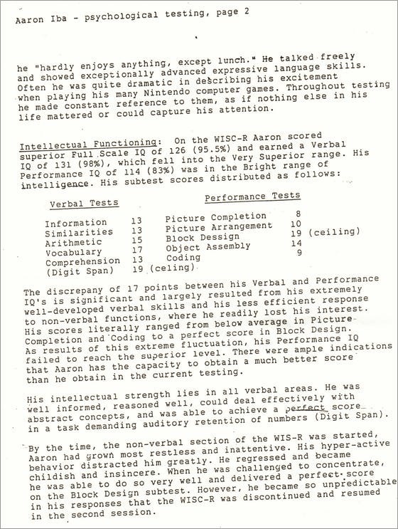 Psychological Evaluation of Aaron Iba – Psychological Evaluation